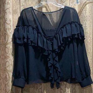 Zara Basic Sheer Navy Blouse